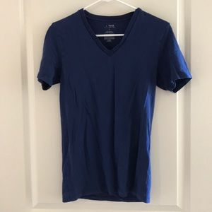 Men's blue deep V stretch short sleeve tee